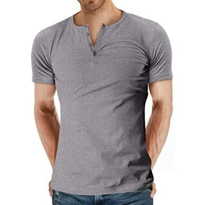 YTD Men's Casual Slim Fit Long Sleeve Henley T-Shirts Cotton Shirts