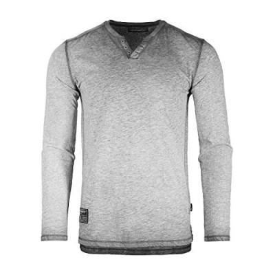 ZIMEGO Men's Vintage Wash Color Dyed Long Sleeve V-Neck Henley Slim Casual Shirt