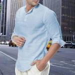 Zwirelz Men's Cotton Linen Henley Shirt 3/4 Sleeve Hippie Casual Beach Loose Yoga T Shirts Casual Button Up Plain T-Shirt