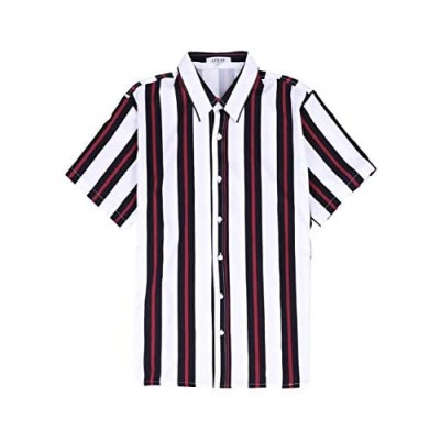 APRAW Men's Striped Shirts Casual Short Sleeves Loose Fit Button Down Shirt Summer Beach Tops