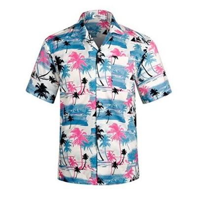 APTRO Men's Casual Hawaiian Shirt 4 Way Stretch Tropical Beach Shirts