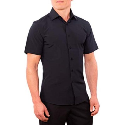CC Performance Slim Fit Short Sleeve Button Down Shirts for Men   Wrinkle Resistant Casual Button Up Shirts for Men