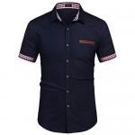 COOFANDY Men's Casual Short Sleeve Button Down Dress Shirt Denim Work Shirts