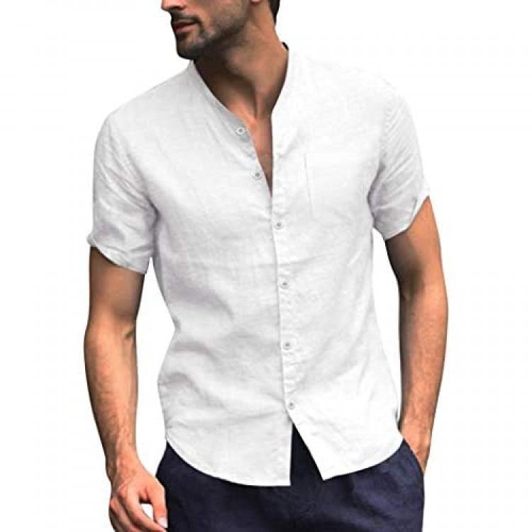 COOFANDY Men's Regular Fit Linen Cotton Shirt Short Sleeve V Neck Button Down Summer Shirt