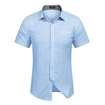 COOFANDY Men's Regular-Fit Short-Sleeve Solid Linen Cotton Shirt Casual Button Down Beach Shirt
