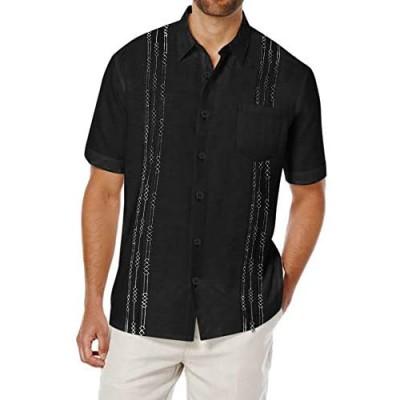 COOFANDY Men's Short Sleeve Linen Shirt Cuban Beach Tops Pocket Guayabera Shirts