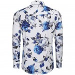 COOFANDY Men's Slim Fit Floral Dress Shirt Long Sleeve Casual Button Down Shirts