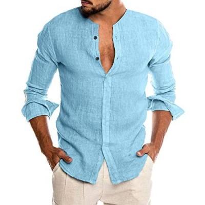 COOFANDY Mens Slim Fit Summer Linen Beach Shirt Business Formal Shirts Blue