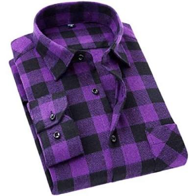 Cromoncent Men's Casual Plaid Flannel Button Down Shirt