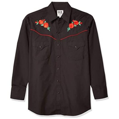 ELY CATTLEMAN Men's Long Sleeve Western Shirt with Rose Embroidery