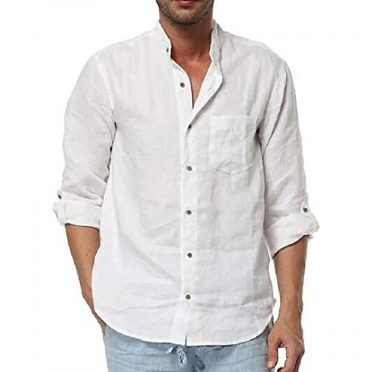 Enjoybuy Mens Linen Button Down Shirts Long Sleeve Banded Collar Summer Beach Shirts Regular Fit Tops