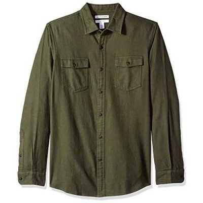 Essentials Men's Slim-Fit Long-Sleeve Two-Pocket Flannel Shirt