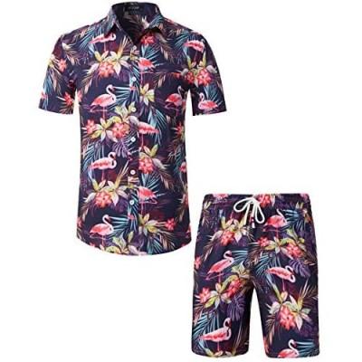 MCEDAR Men's Hawaiian Short Sleeve Shirt Suits Aloha Flower Print Suits Casual Button Down Standard Fit Beach Shirts Suits