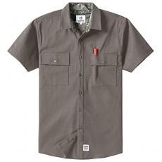 Men's Short Sleeve Canvas Button-Up Work Shirt