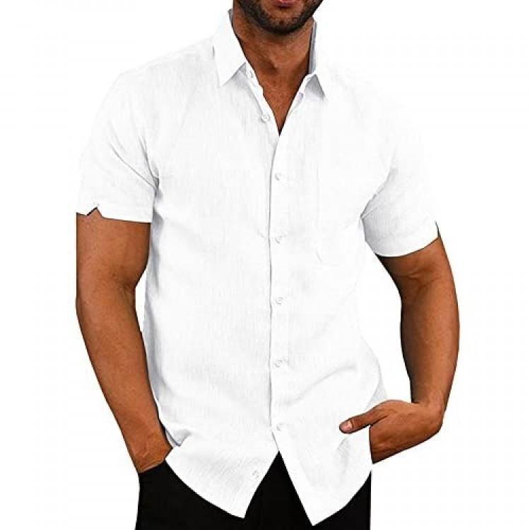 Mens Short Sleeve Shirts Button Down Tops Beach Linen Fishing Tees Spread Collar Plain Summer Blouses