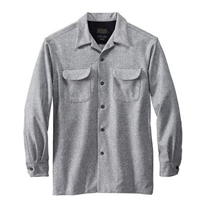Pendleton Men's Long Sleeve Classic-fit Board Shirt Grey Mix Solid Large