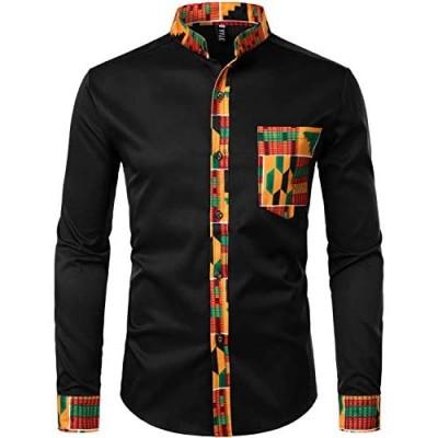 ZEROYAA Men's Hipster African Tribal Graphic Patchwork Design Slim Fit Long Sleeve Button up Mandarin Collar Shirts