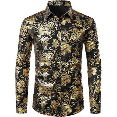 ZEROYAA Men's Luxury Paisley Shiny Printed Stylish Slim Fit Button Down Dress Shirt