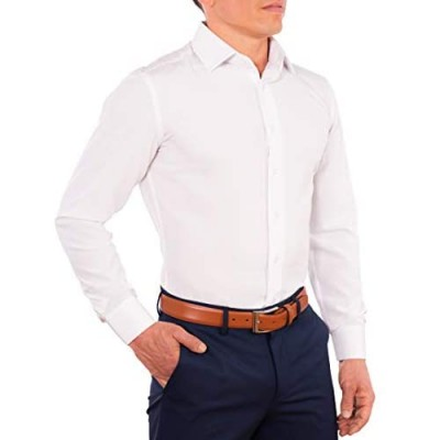 CC Performance Stretch Slim Fit Dress Shirts for Men   Wrinkle Resistant Long Sleeve Button Up Mens Dress Shirts