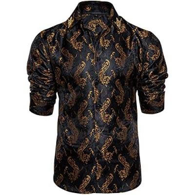 DiBanGu Mens Shirt Paisley Floral Dress Shirt Long Sleeve with Collar Pin Brooch
