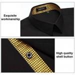 HISDERN Men's Inner Contrast Casual Shirts Formal Classic Button Down Dress Shirt Long Sleeve Printed Collar Slim Fit