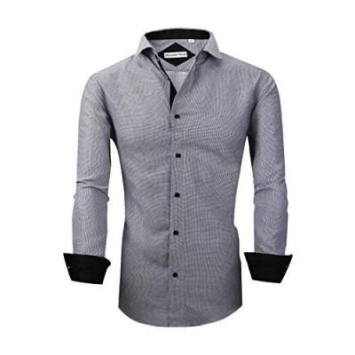 Mens Dress Shirts Long Sleeve Regular Fit Printed Button Down Shirts