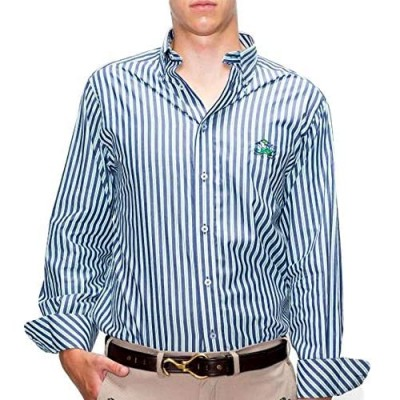 Mens Long Sleeve NCAA Collegiate Casual Button-Down Shirt   Broad Stripe with Embroidered Logo