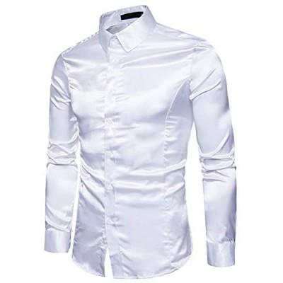 Men's Slim-Fit Long-Sleeve Solid Satin Silk Like Dance Prom Dress Shirt Tops