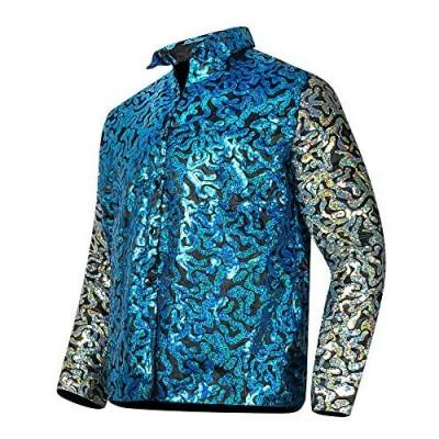 Mens Tiger King Shirt Joe Exotic Shiny Sequins Button Down Dress Shirt