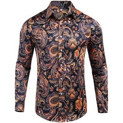 Pacinoble Mens Long Sleeve Fashion Luxury Design Print Dress Shirt