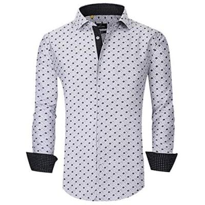 Suslo Couture Azaro Uomo Men's Modern Fit White Geometric Long Sleeve Shirts Wrinkle-Free