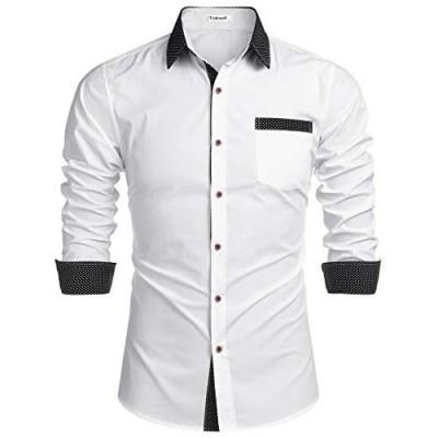 Tinkwell Men's Casual Long Sleeve Shirt Button Down Shirt Cotton Regular fit Dress Shirts