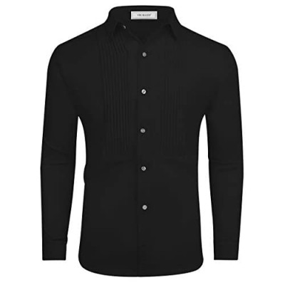 VICALLED Mens Tuxedo Shirt Casual Slim Fit Long Sleeve Dress Button Down Collar Shirts Prom