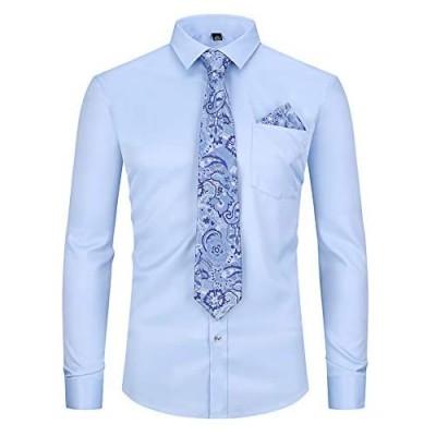 XTAPAN Men's Dress Shirt-Long Sleeve Regular Fit Button Down Shirt with Matching Tie and Handkerchief