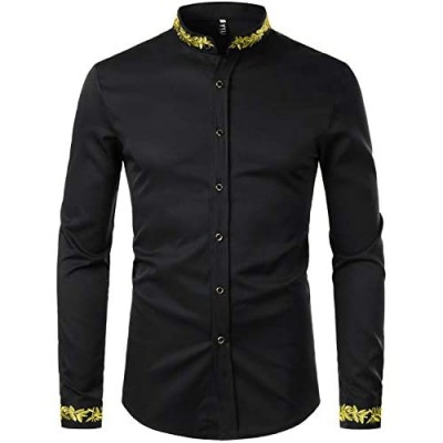 ZEROYAA Men's Luxury Gold Embroidery Design Slim Fit Long Sleeve Button Up Dress Shirts
