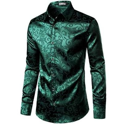 ZEROYAA Men's Luxury Jacquard Long Sleeve Dress Shirt Shiny Satin Slik Like Wedding Party Prom Shirts