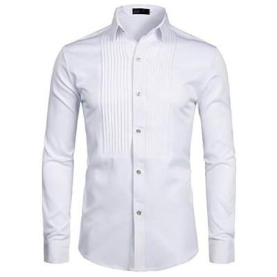 ZEROYAA Mens Slim Fit Long Sleeve Tuxedo Dress Shirts/Prom Performing Shirts