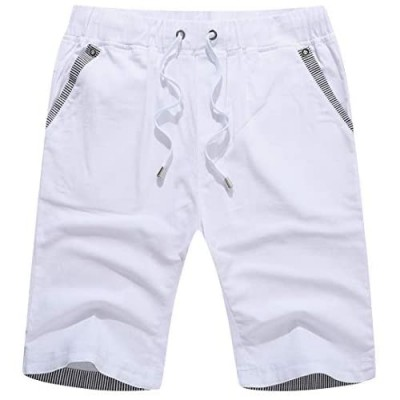 Janmid Men's Shorts Casual Classic Fit Drawstring Summer Beach Shorts with Elastic Waist and Pockets