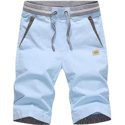 LTIFONE Men's Casual Shorts Slim Fit Drawstring Summer Beach Shorts with Elastic Waist and Pockets