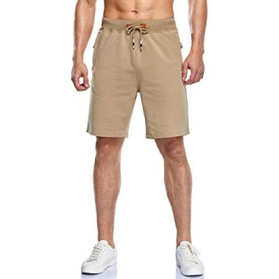 YnimioAOX Men's Shorts Casual Workout Sports Shorts with Zipper Pockets