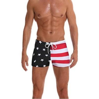 Ekouaer Mens Swimsuit Swim Trunks American Flag Camo Swimwear Swimming Surf Beach Shorts