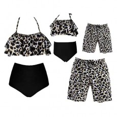 Family Matching Swimsuits 2021 Newest Mommy Daddy and Me Swimwear Printed Ruffle Bathing Suits