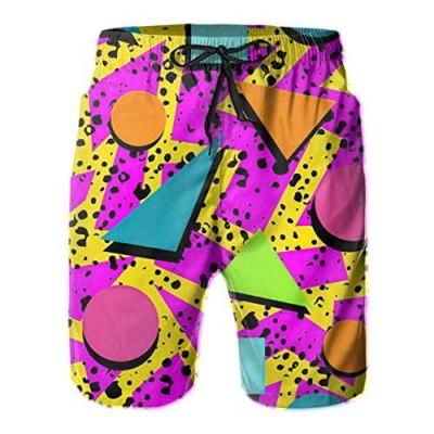 Vintage 80s Memphis Mens Beach Shorts Funny Elastic Waist Quick Dry Swim Trunks